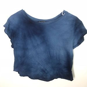 Brandy Melville Dark Blue Tye Dye Crop Tee